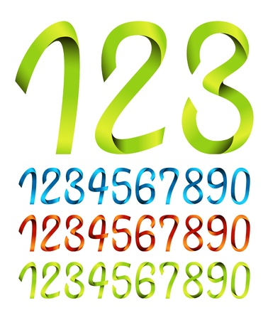 numerals: Set of ribbon numbers
