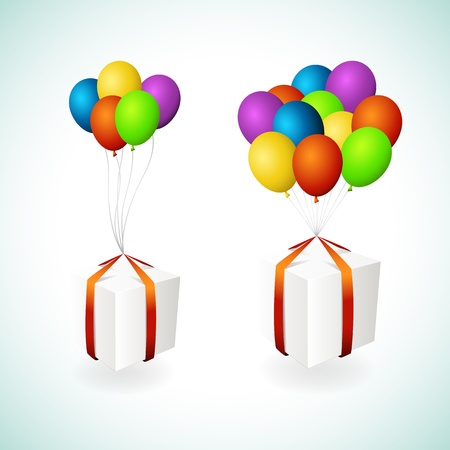 Vector isolated gift boxes with balloons Stock Vector - 14882266