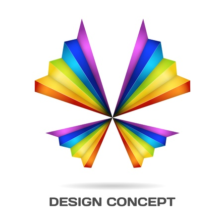 Multicolor butterfly design concept Vector