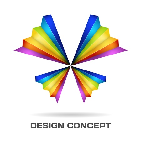 minimalist: Multicolor butterfly design concept Illustration