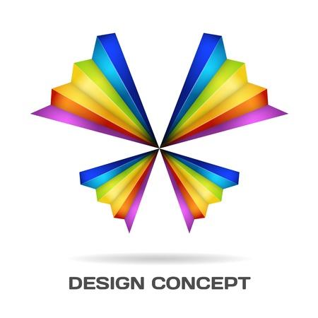 minimalista: Multicolor pillangó tervezési koncepció Illusztráció