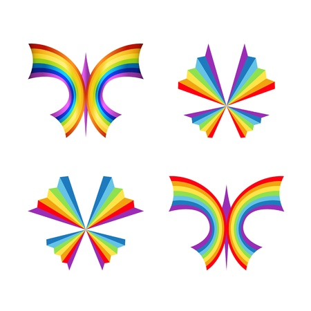 Set of rainbow butterfly concepts Vector