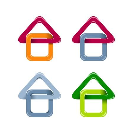 case colorate: Casa icone Vettoriali