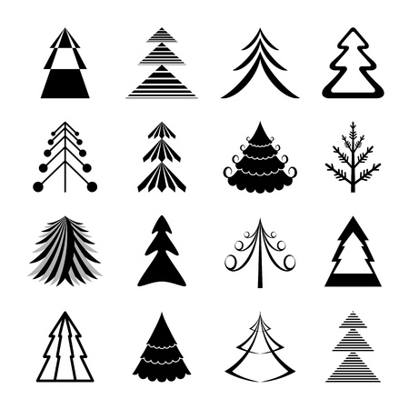 Set of graphical Christmas trees icons Vector