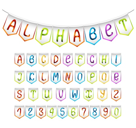 latin language: Bunting alphabet and numbers set