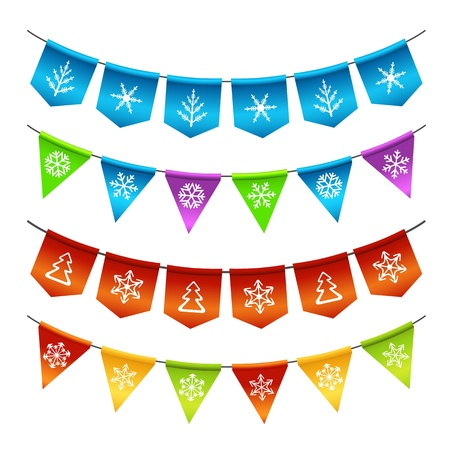 Christmas bunting flags Vectores