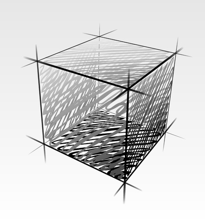 schematically: Hand drawn vector cube isolated Illustration