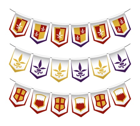 the middle ages: Heraldic bunting flags