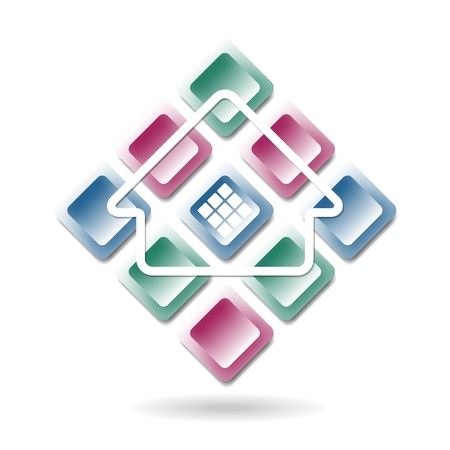 roofer: abstract building icon Illustration