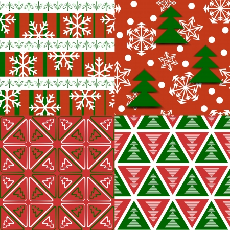 Set of seamless Xmas patterns Stock Vector - 15479059