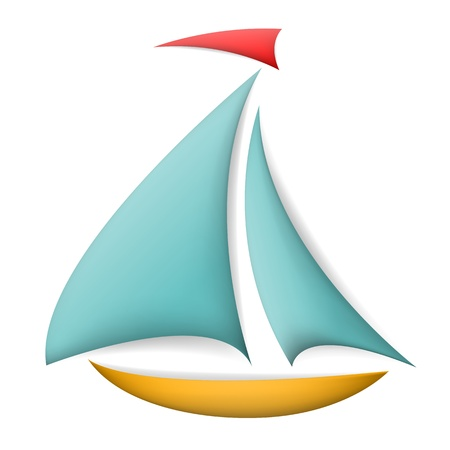 boating: Isolated boat with shadows Illustration