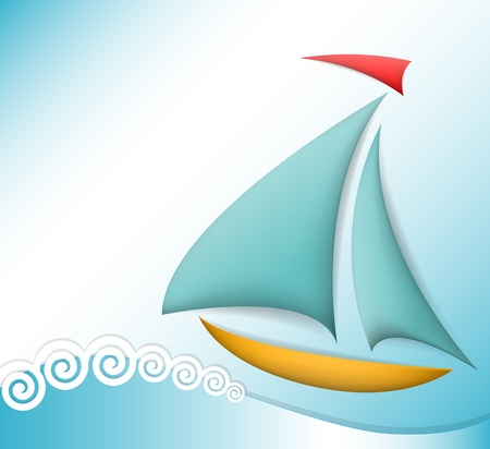 sailing yacht: Boat sea theme illustration Illustration