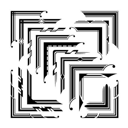 Set of graphical vintage corners  イラスト・ベクター素材
