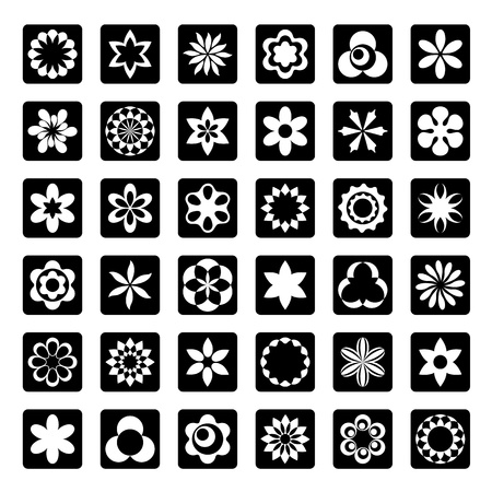 Set of floral icons Stock Vector - 15829377