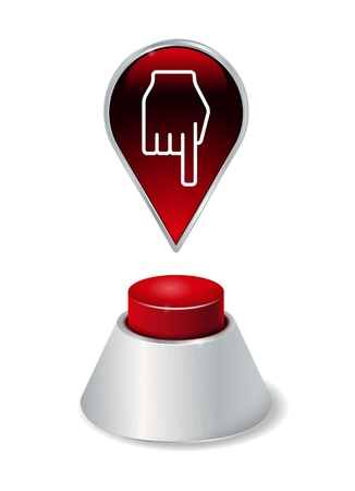 Red button with pointer icon Vector