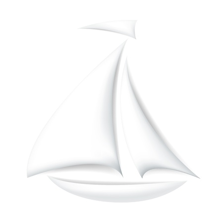 simple logo: Isolated white boat with shadows Illustration