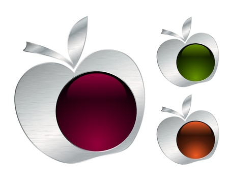 Metallic apple icons Vector