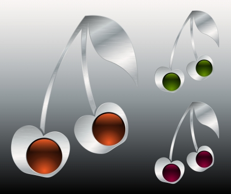 Metallic cherry icons Vector
