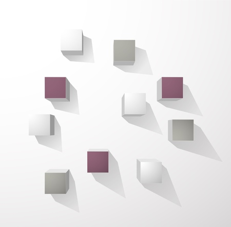 Abstract cubes wall background Vector