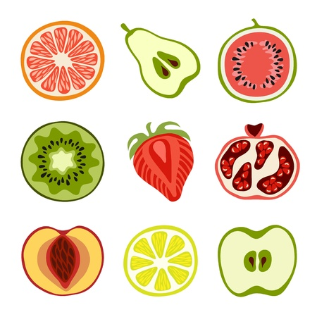 apple slice: Hand-drawn fruits