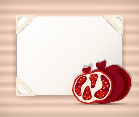 photo frame corner: Background with pomegranates Illustration