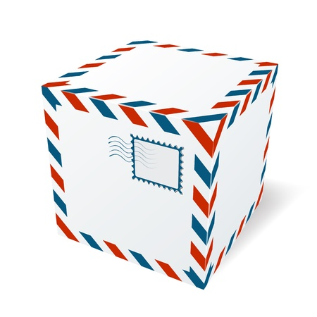 ship parcel: Isolated cardboard box Illustration
