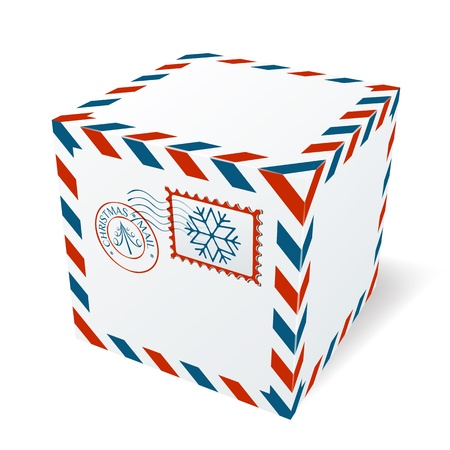 ship parcel: Christmas cardboard box Illustration