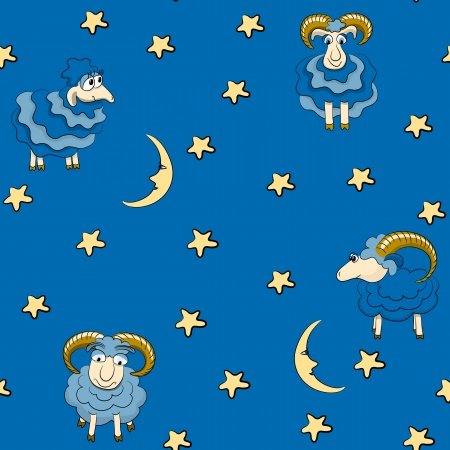 Seamless pattern with sheep for good dreams Vector