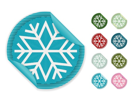 Snowflake stickers Vector