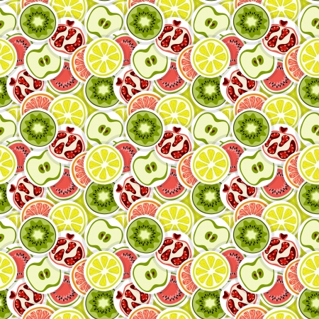 green apple slice: Seamless vector pattern with fruits