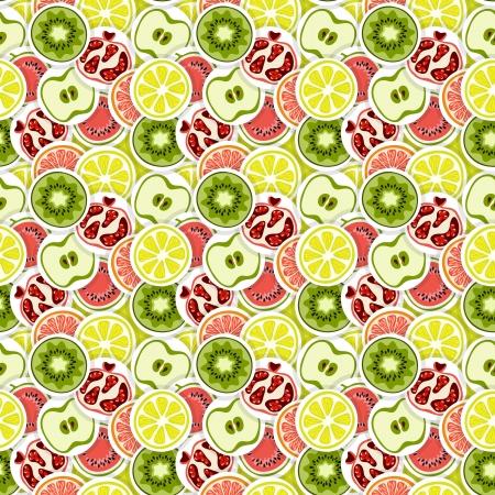 limon caricatura: Sin fisuras vector patrón con frutas