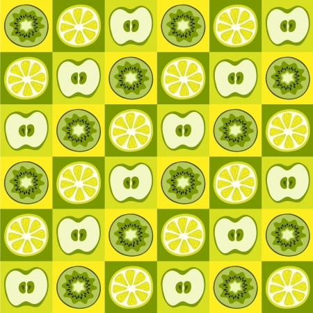 Seamless vector pattern with kiwi, apples and lemons Vector