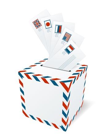 levelezés: Nemzetközi levelezés, postaláda koncepció Illusztráció