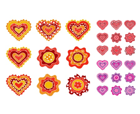 Hand drawn hearts and flowers Vector