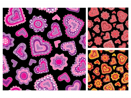 Seamless hand-drawn hearts patterns Vector
