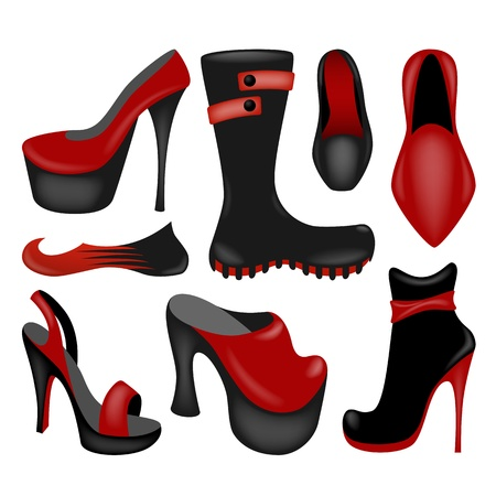 autumn woman: Footwear collection, isolated on white vector objects Illustration