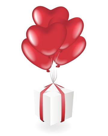 Giftbox with heart balloons Vector