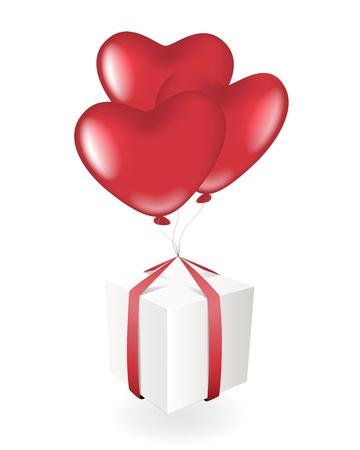 Giftbox with heart balloons Vector