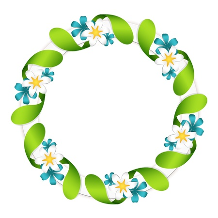 round frame: Floral garland, isolated on white Illustration