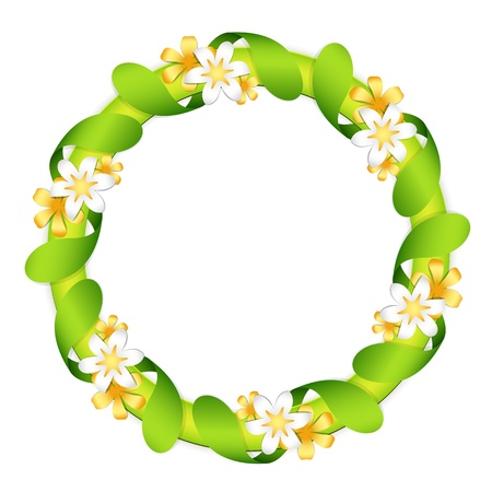 Floral garland, isolated on white Vectores