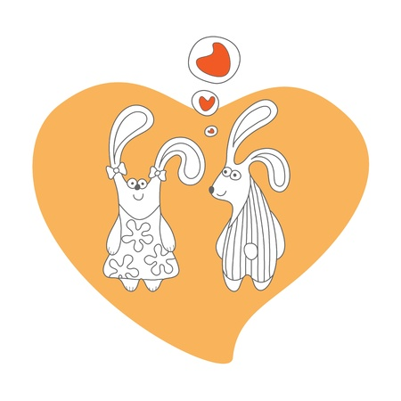 first love: Rabbits in love, cartoon, isolated
