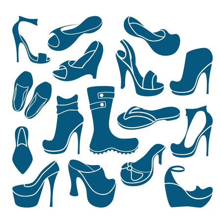 Footwear graphical icons collection  Vector