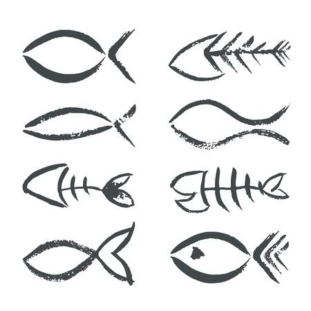 pez cristiano: Mano aislada dibujado signos peces Vectores