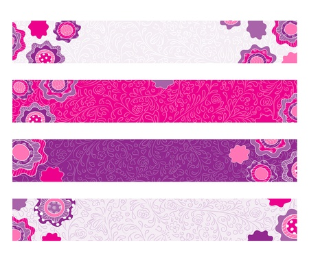 Bright decorative floral banners Vector