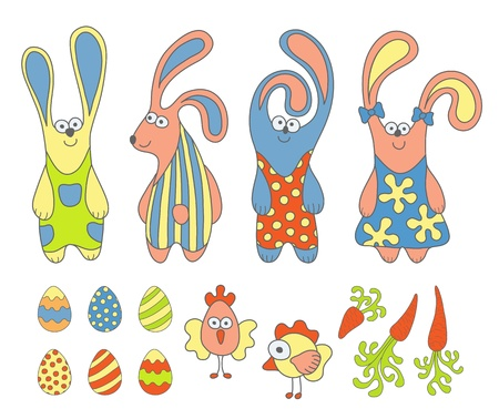Cute cartoon rabbits and design Easter elements set Vector
