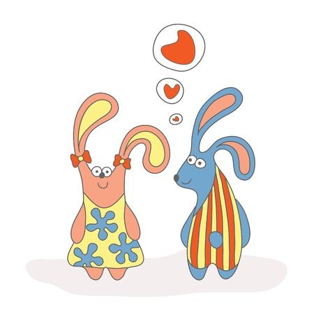 secret love: Rabbit in love cartoon  Illustration