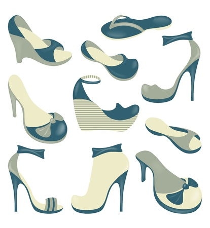 Footwear, isolated  objects collection  Vector