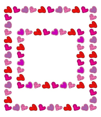 Cute drawn hearts two frames, editable Vector