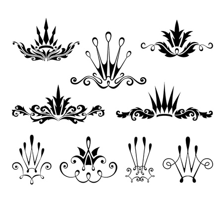 Decorative crown design elements 일러스트