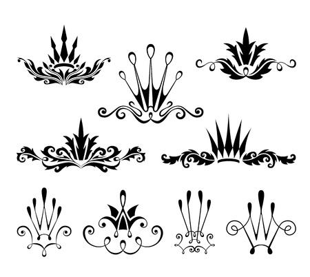 Decorative crown design elements Vectores